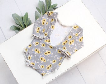 Sunshine On A Cloudy Day - newborn long sleeve romper in grey, periwinkle, blush, pink, yellow and brown with sunflower print (RTS)