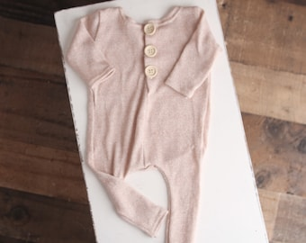 Pink Shimmer - newborn long sleeve footless romper in a light dusty pink blush with a slight shimmer in the thread (RTS)
