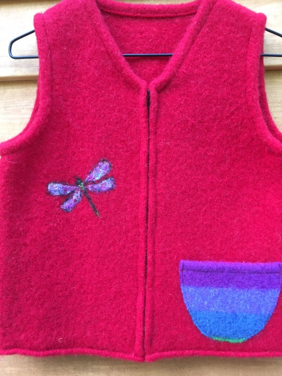 with Needle-Felted Dragonfly and Colorful Pocket Red Felted Child/'s Vest 5-8 years size 6-8
