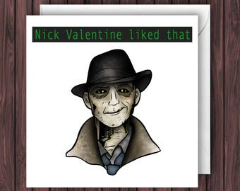 Nick Valentine. Fallout 4 Birthday Card. Funny Greetings Card. Fandom Blank Card. Valentines Card.