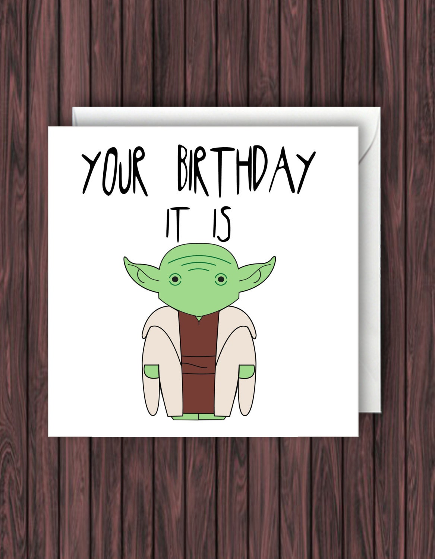 Yoda Birthday Card Star Wars Birthday Card Birthday Card Etsy