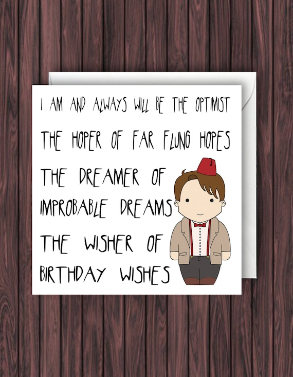 Doctor Who Birthday Card Dr Who Birthday Card 11th Doctor Etsy