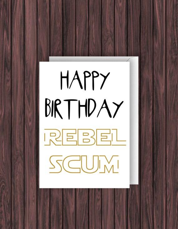 Rebel Anniversaire Carte Star Wars Anniversaire Carte Etsy