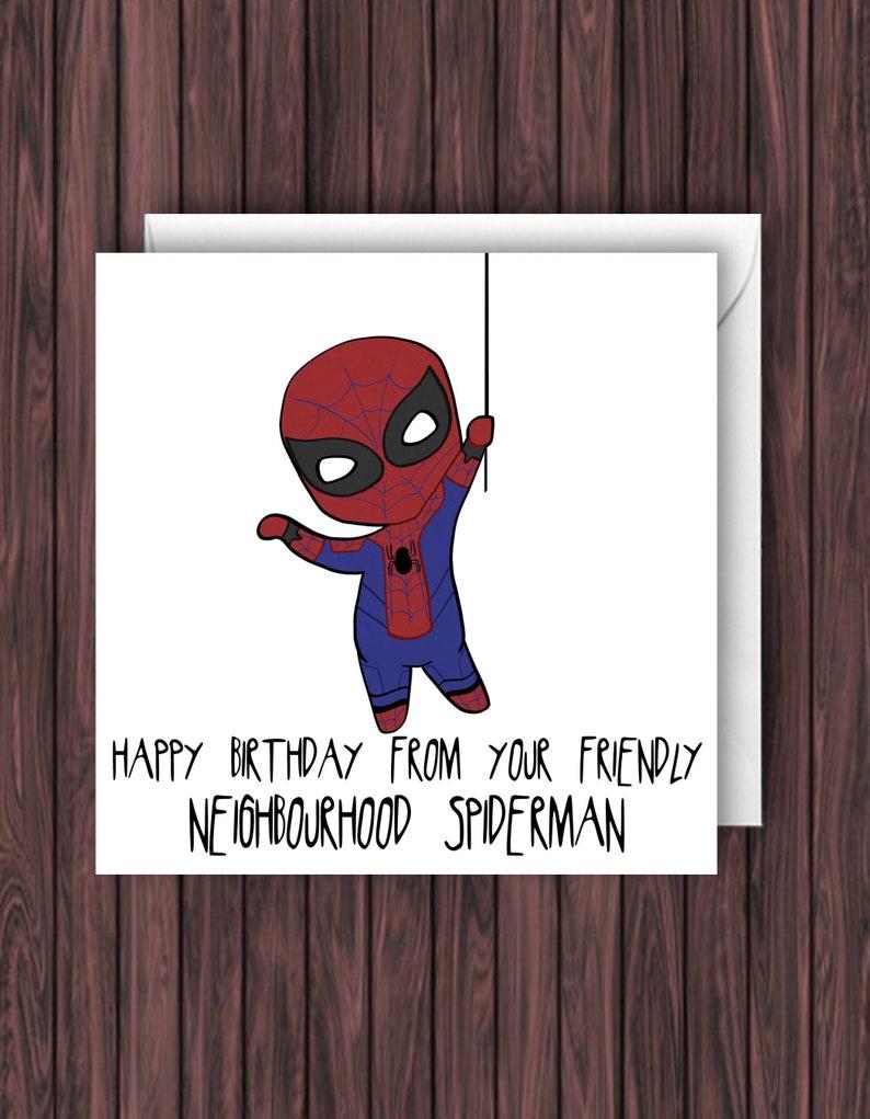 Spider Man Geburtstagskarte Marvel Birthday Card Lustige Geburtstagskarte Blank Birthday Card Avengers Geburtstagskarte Unendlichkeitskrieg