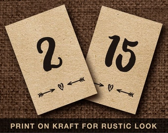 4x6 Kraft table numbers Heart and arrow Printable wedding table number 4x6 inch 1-30 Instant download file Rustic table numbers