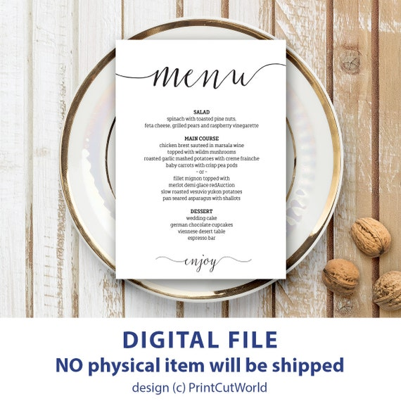 wedding menu template 5x7 rustic wedding menu printable etsy