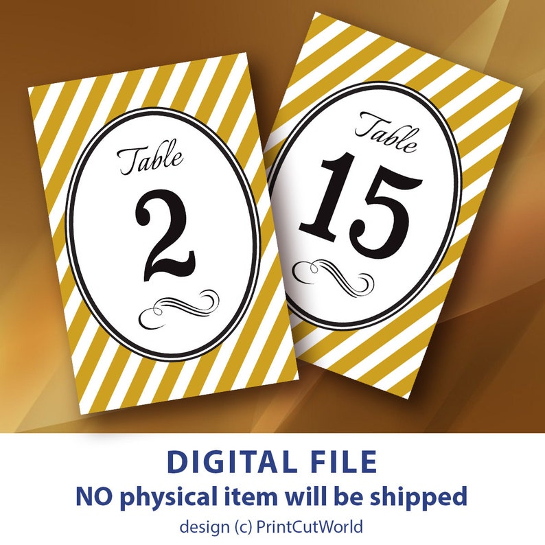 picture about Free Printable Table Numbers 1-30 called Printable Desk quantities 4x6 Gold Marriage desk variety 1-30 Gold and Black Wedding ceremony Do-it-yourself Decor Gold striped desk range Instantaneous Down load