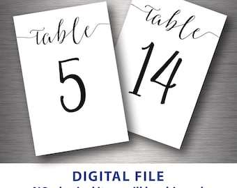 Table numbers printable 4x6 Classic wedding table number 1-30 Instant download DIY Black and White Wedding Modern Minimalist Script font