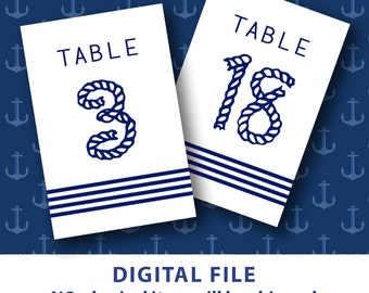 Printable table numbers Nautical wedding decor Nautical table numbers Striped Blue Rope 4x6 table numbers 1-30 Destination Wedding DIY Bride