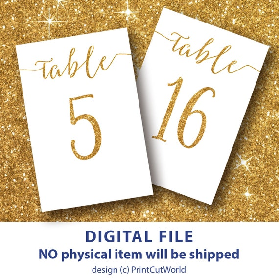 Table numbers template 4x6 Gold glitter table numbers 1-30 Instant download DIY Wedding Printable Modern Shimmer and shine