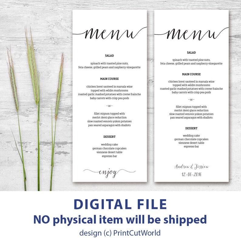 photo relating to Printable Menu Card identified as Printable menu card 4x9 Rustic wedding day menu template Quick downolad Editable menu playing cards Kraft menu playing cards Minimalist Innovative