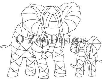elephants template etsy