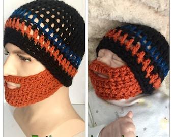 6302fb71d036f Father and son matching beard hats Baby boy orange ginger crocheted knitted  hippie beanie designer kids newborn gift bearded lumberjack dadd