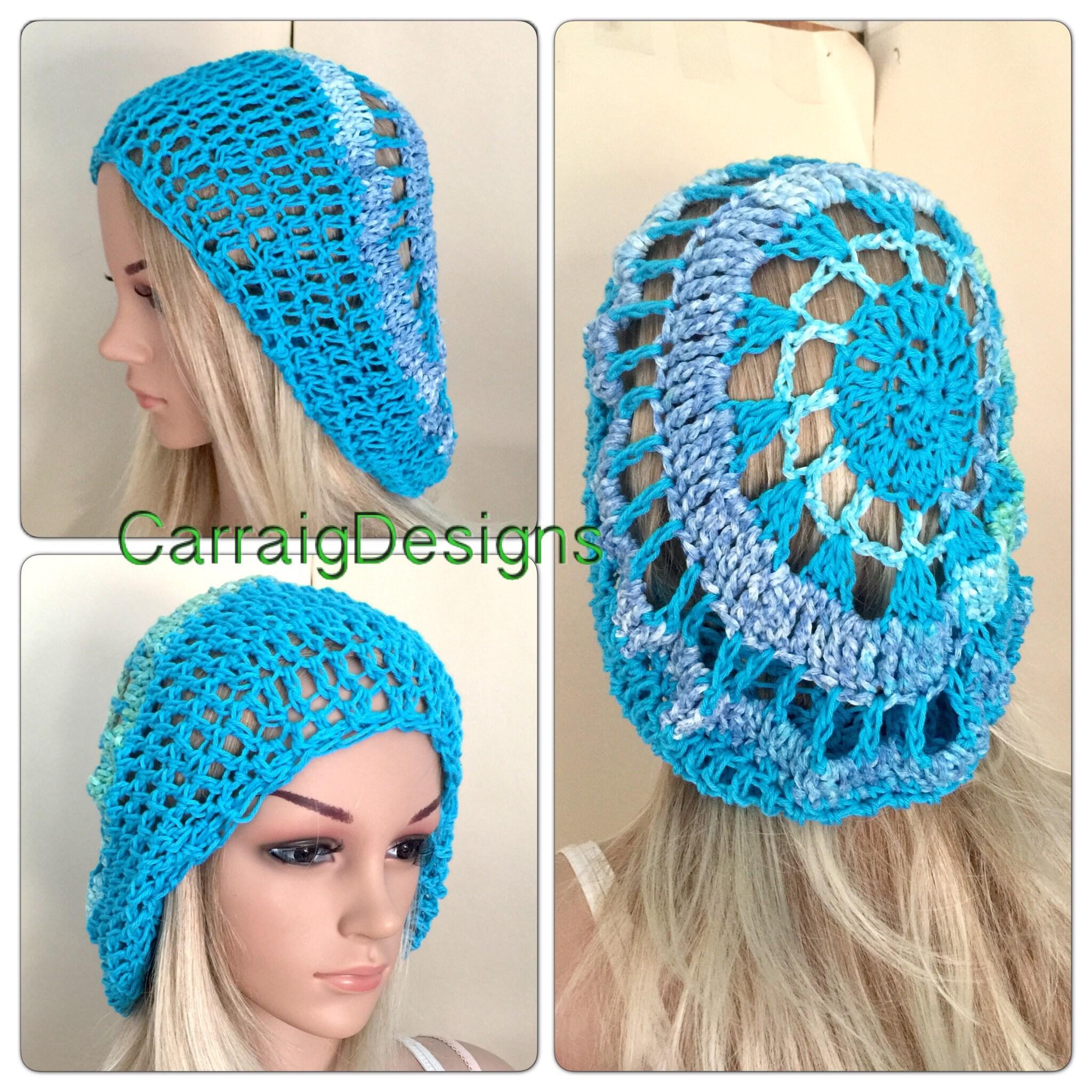 70ce9cc8007aa Beret Cotton crochet spring summer teens handmade knit oversized slouch  beanie hat circle mandala dread tam unique designer blue earth Irish