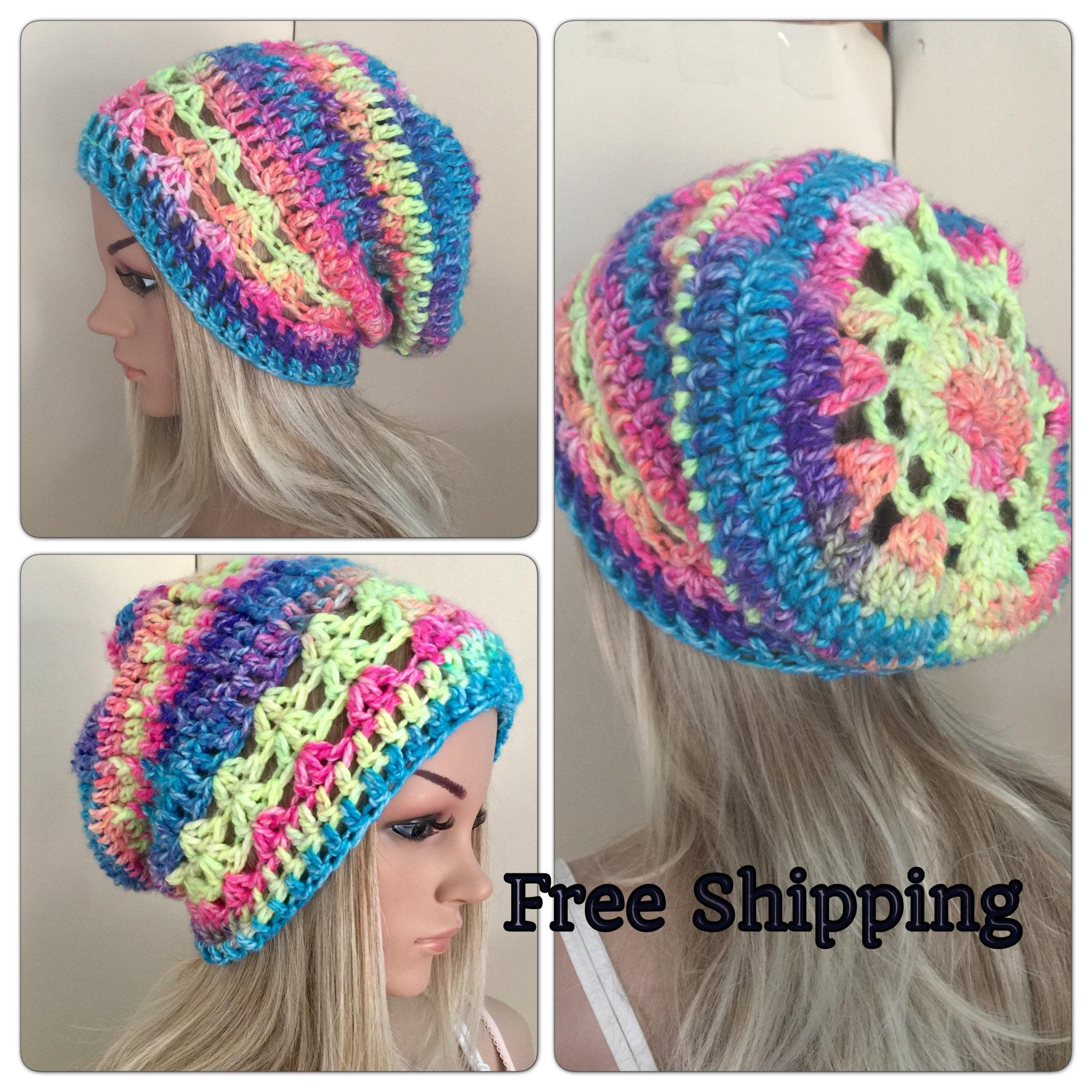 Chunky slouch hat lace Womens hand crochet knit oversized slouchy beanie  snood hat rainbow hippie boho tam teens unique designer mandala 6bcfa532c80