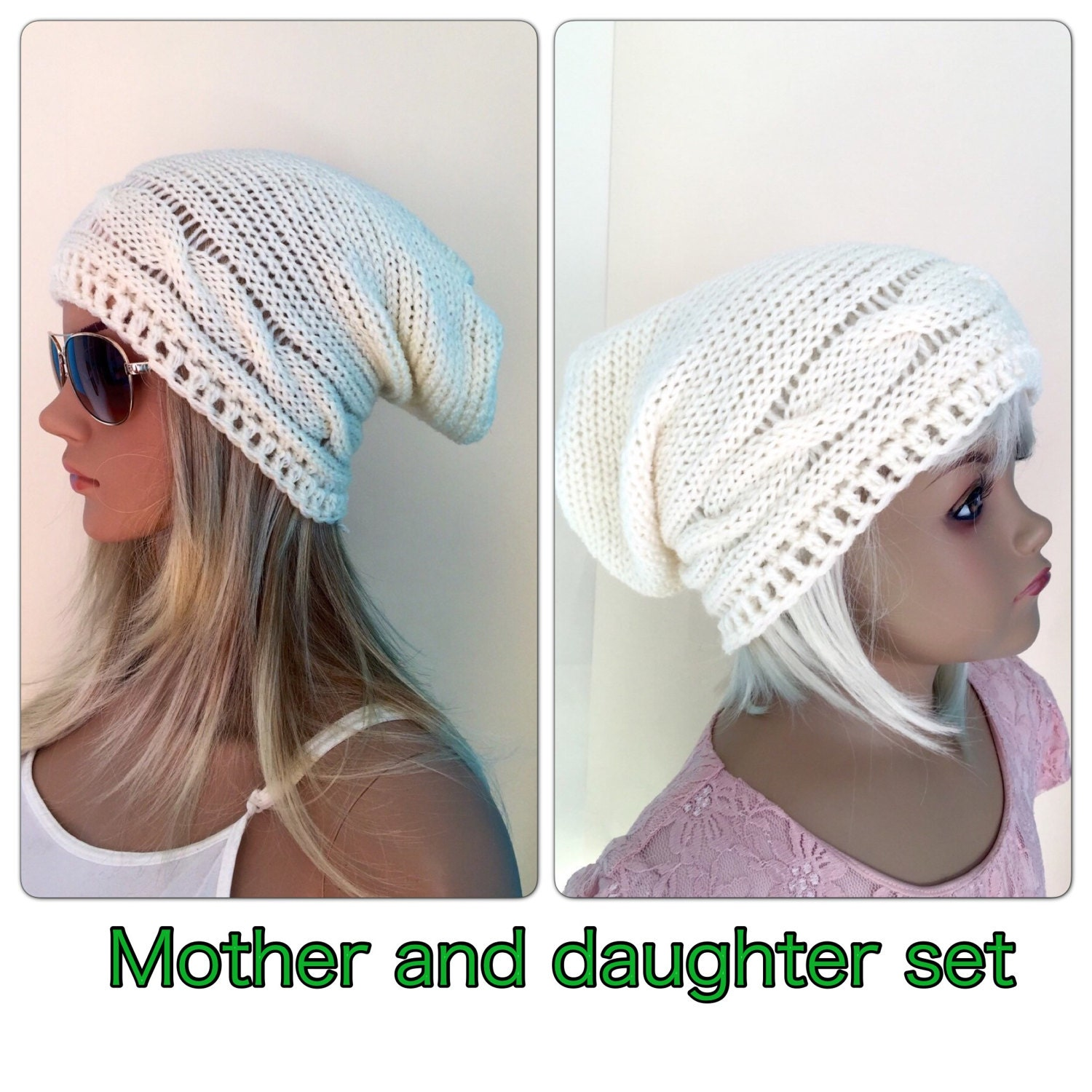 e54eae830d0 MOTHER and DAUGHTER set crocheted knitted hippie Slouch beanie grey cables  unique designer kids adult child sets matching hats sisters