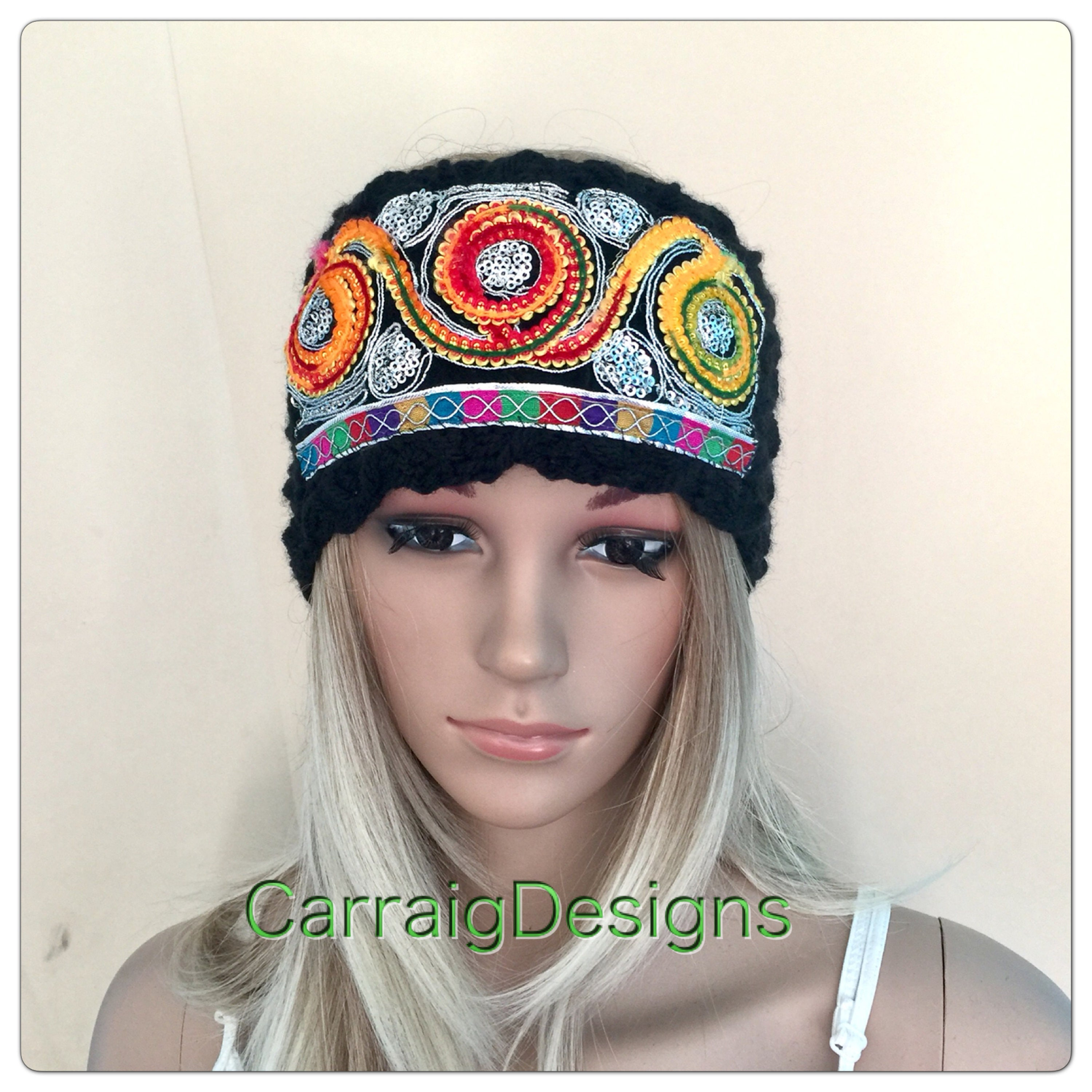 Embroidered Lace Headband Indian Black Womens Teens Designer Unique
