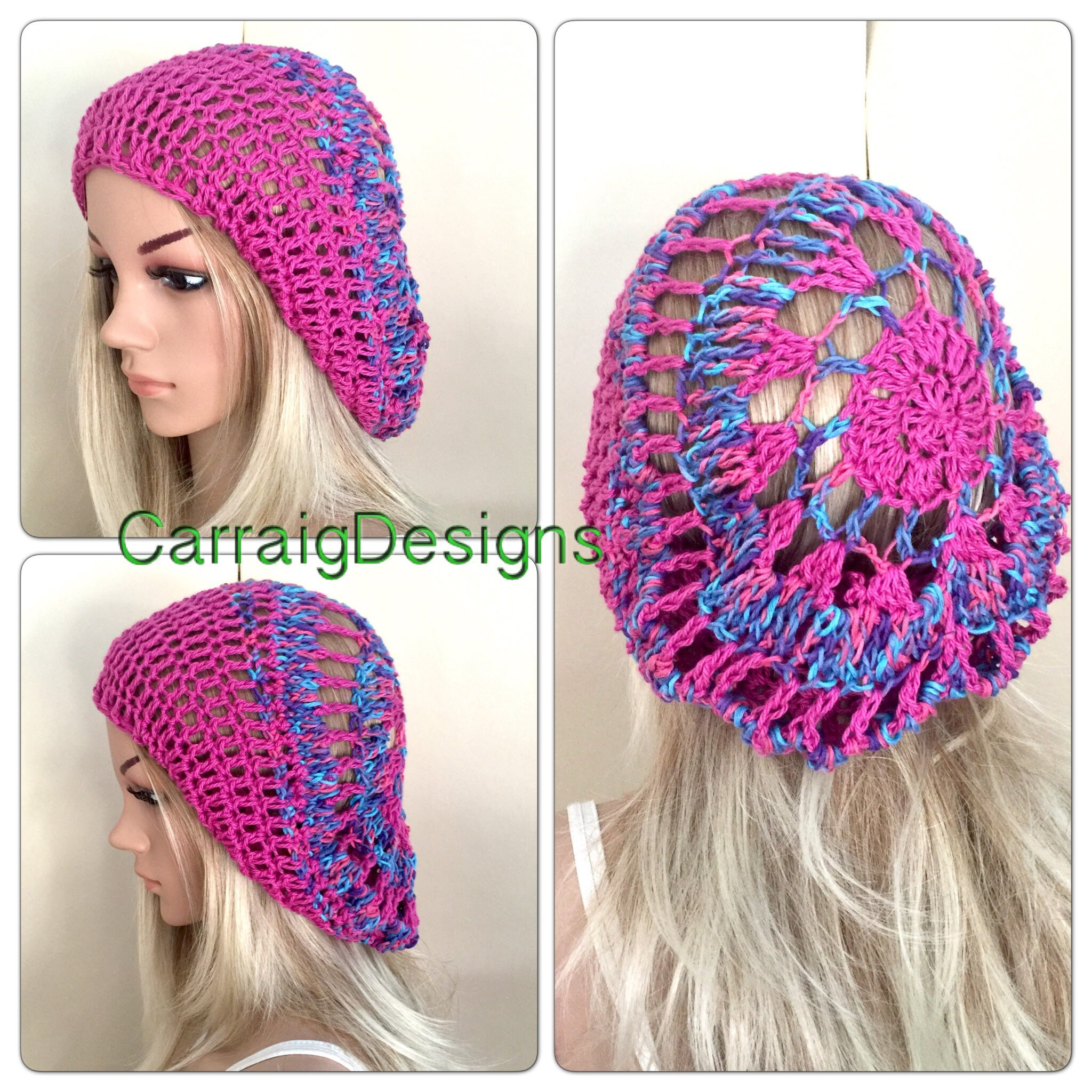 c386ca2175a31 Cotton summer beret crochet spring teens handmade knit oversized slouch  beanie hat circle mandala dread tam unique designer pink earth Irish