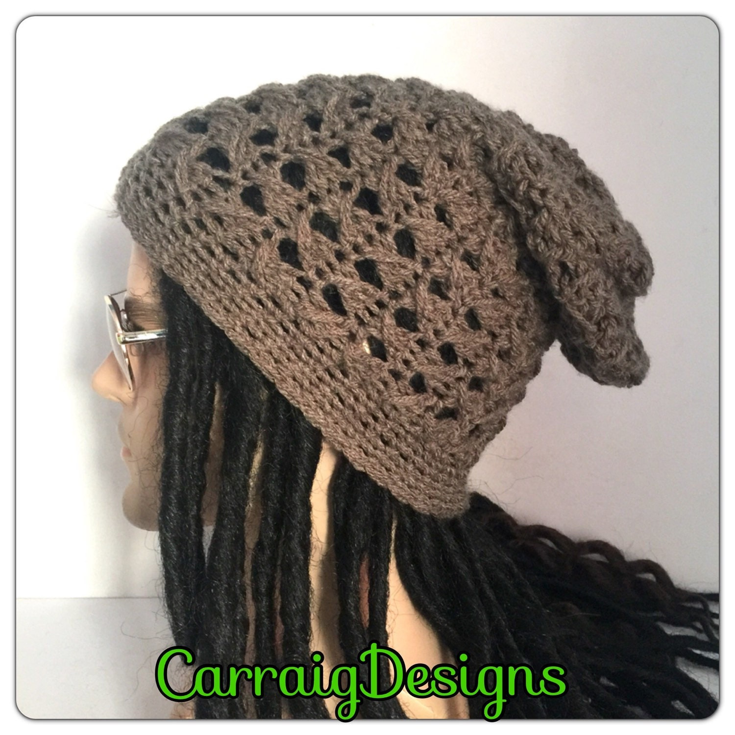 ce83973982f Dreadlocks mans mens unisex hand knitted long oversized rasta slouch beanie  hippie hat