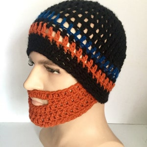 3a1bbb80 Orange ginger Beard hat designer mans mens unisex hand crochet knit classic  beanie hat Irish boyfriend guy gift face warmer winter ski mask