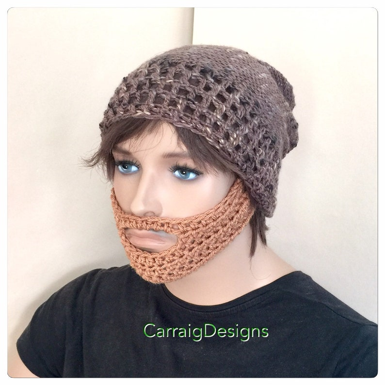 c3b183b977a Slouch Beard hat brown designer mens unisex hand crochet knit