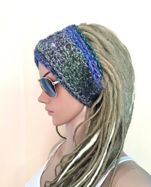 Designer unique headband womens teens hand crochet knit dread tube wrap  chunky hippie boho ear warmer dreadlock accessory ski free shipping 18b9aa666192
