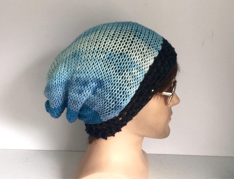 d42f1d1c20b Slouch knit hat men Designer mans mens unisex hand crocheted knitted  oversized beanie snood hat