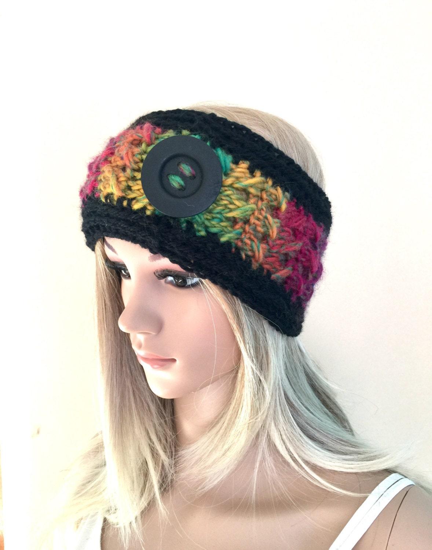 Designer unique headband womens teens hand crocheted knit dread tube wrap  hippy hippie ooak boho ear warmer dreadlock accessory ski rainbow 93729157219d