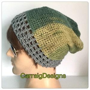 d9623be9931 Designer mans men unisex hand crocheted knitted oversized slouch beanie  snood hat green hippie hipster boho xmas gift grey small dread tam