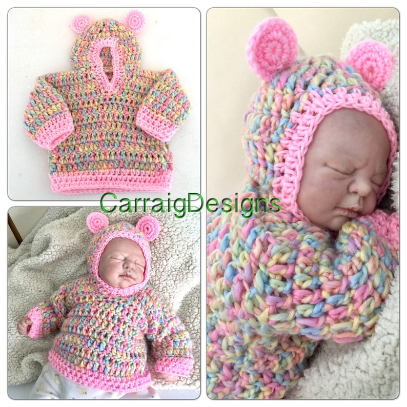 75789c3fc4 0-3 months Baby girl crochet knitted hippie hooded ears | Etsy
