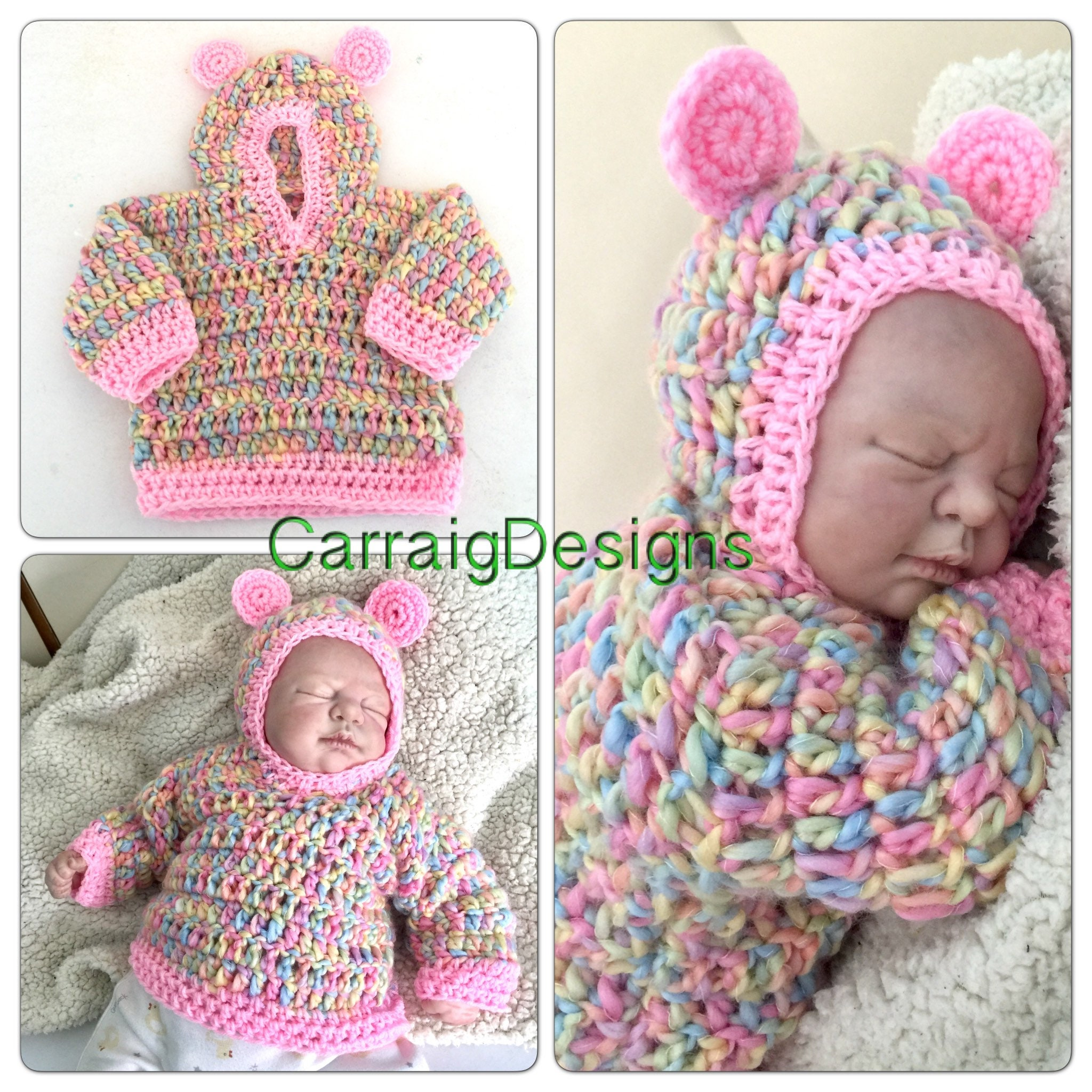 1449b3d844a6 0-3 months Baby girl crochet knitted hippie hooded ears sweater ...