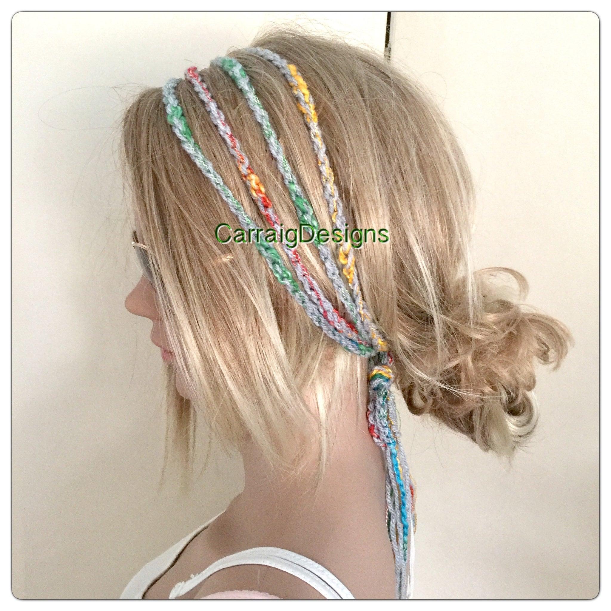 Rasta headband Womens Gypsy Hairband Hair Wrap Designer dread womens teens  yoga hand knit crochet chain grey rainbow tube hippy hippie boho ee46c8d9dd0