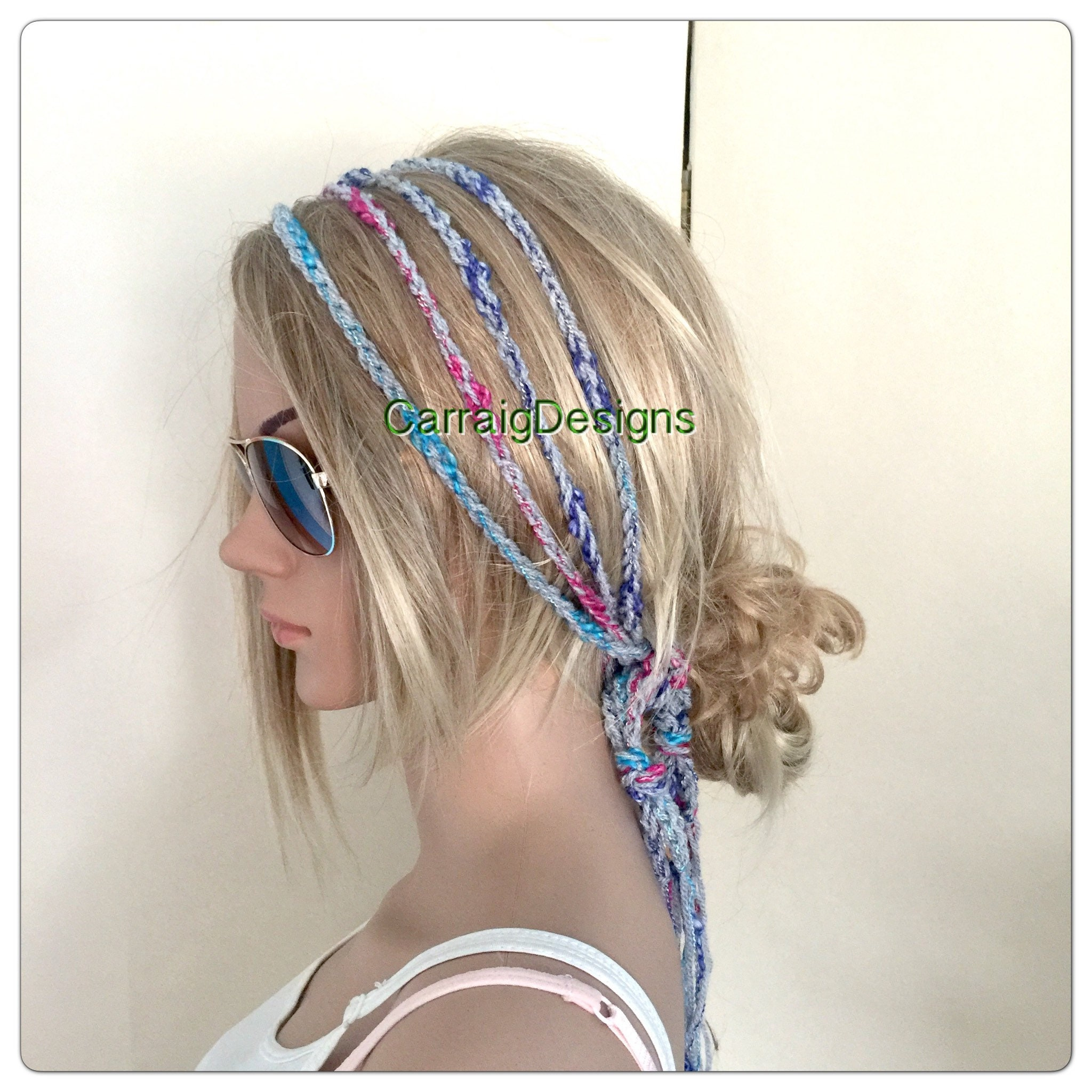 Rasta Womens Gypsy Hairband Hair Wrap Designer dread headband womens teens  yoga hand knit crochet black rainbow tube hippy hippie boho 6468468b1e0
