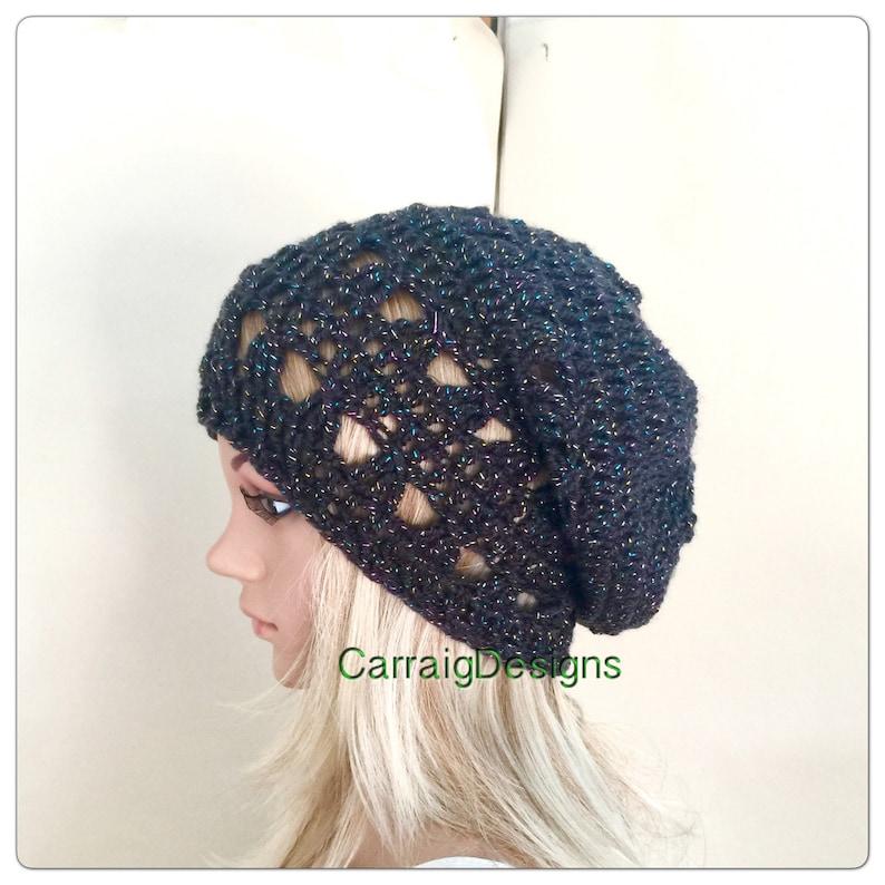 059fbda86e9 Grey mesh beanie mandala hat Womens teens handmade crochet