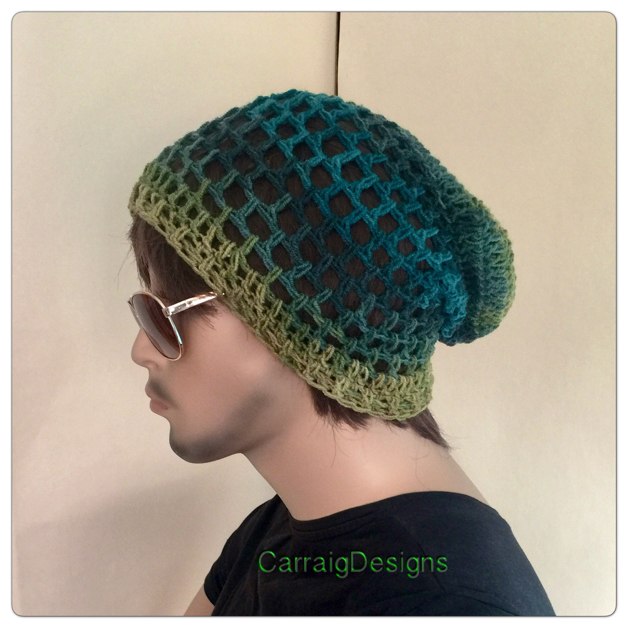 5930c2a8677 Mesh beanie hat mans men unisex hand crocheted knit oversized slouch beanie  dread tam hat green hippie boho xmas gift irish sale airy irish