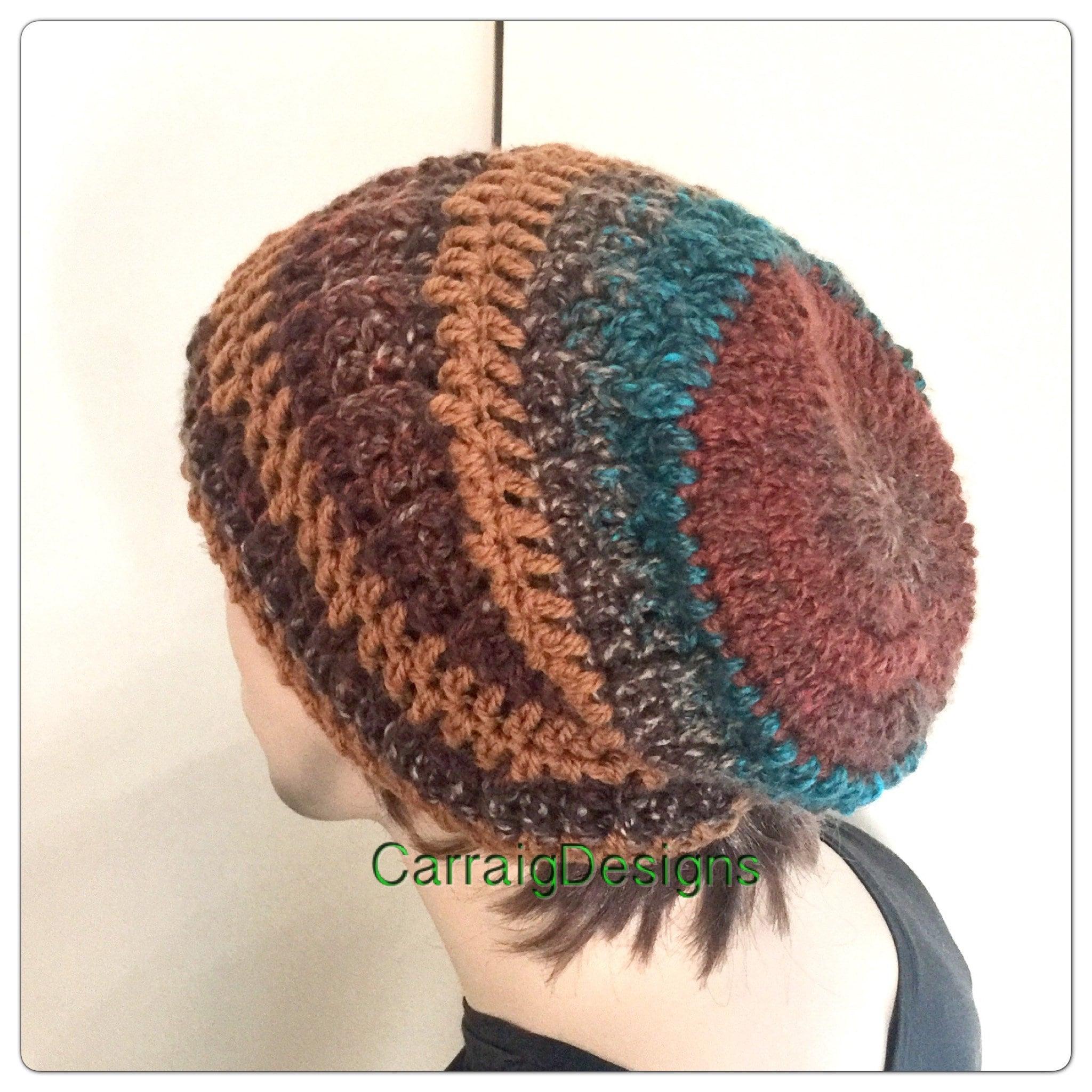 564dd9ae0d1 Mens slouch beanie hat man Designer hand crochet knitted oversized guy  slouchy striped gaming dread tam sale unisex women xmas gift ooak
