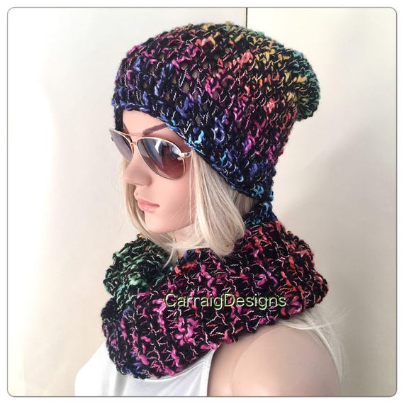 Schal Und Mütze Set Slouch Beanie Häkeln Frauen Jugendliche Etsy