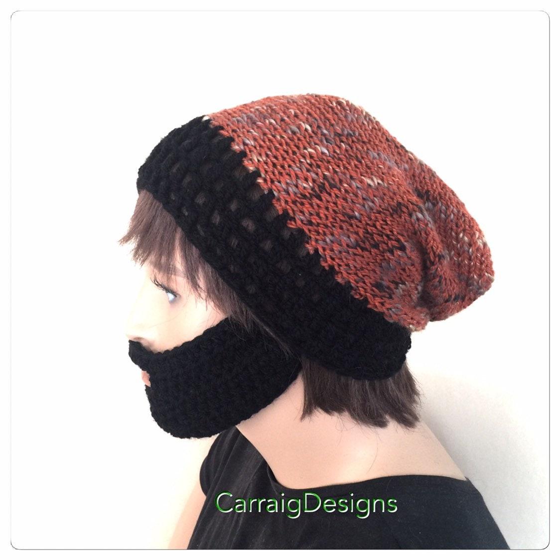 Slouch Beard Hat Black Designer Mens Unisex Hand Crochet Knit Beanie