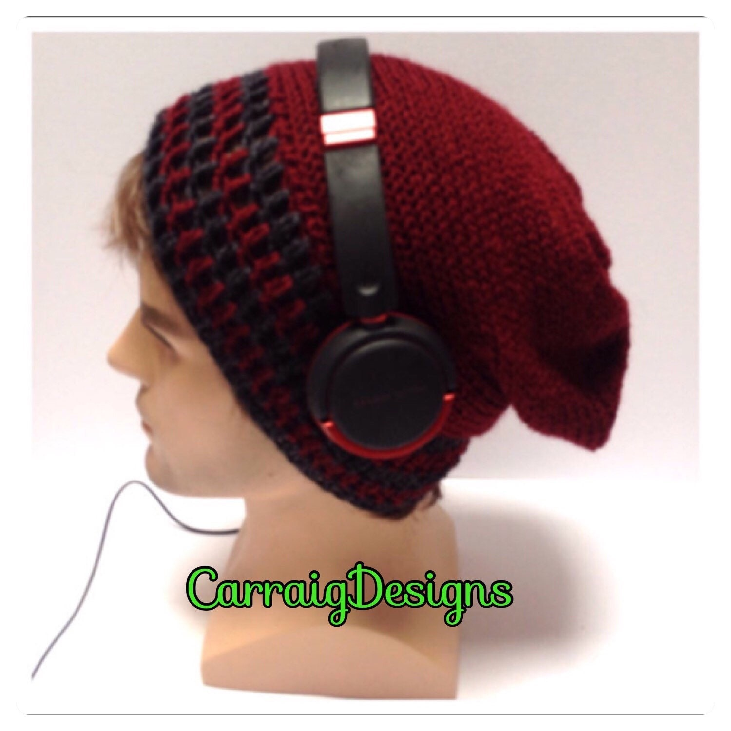 91eeb53280d Designer mans mens unisex hand crocheted knitted striped oversized slouch  beanie snood hat