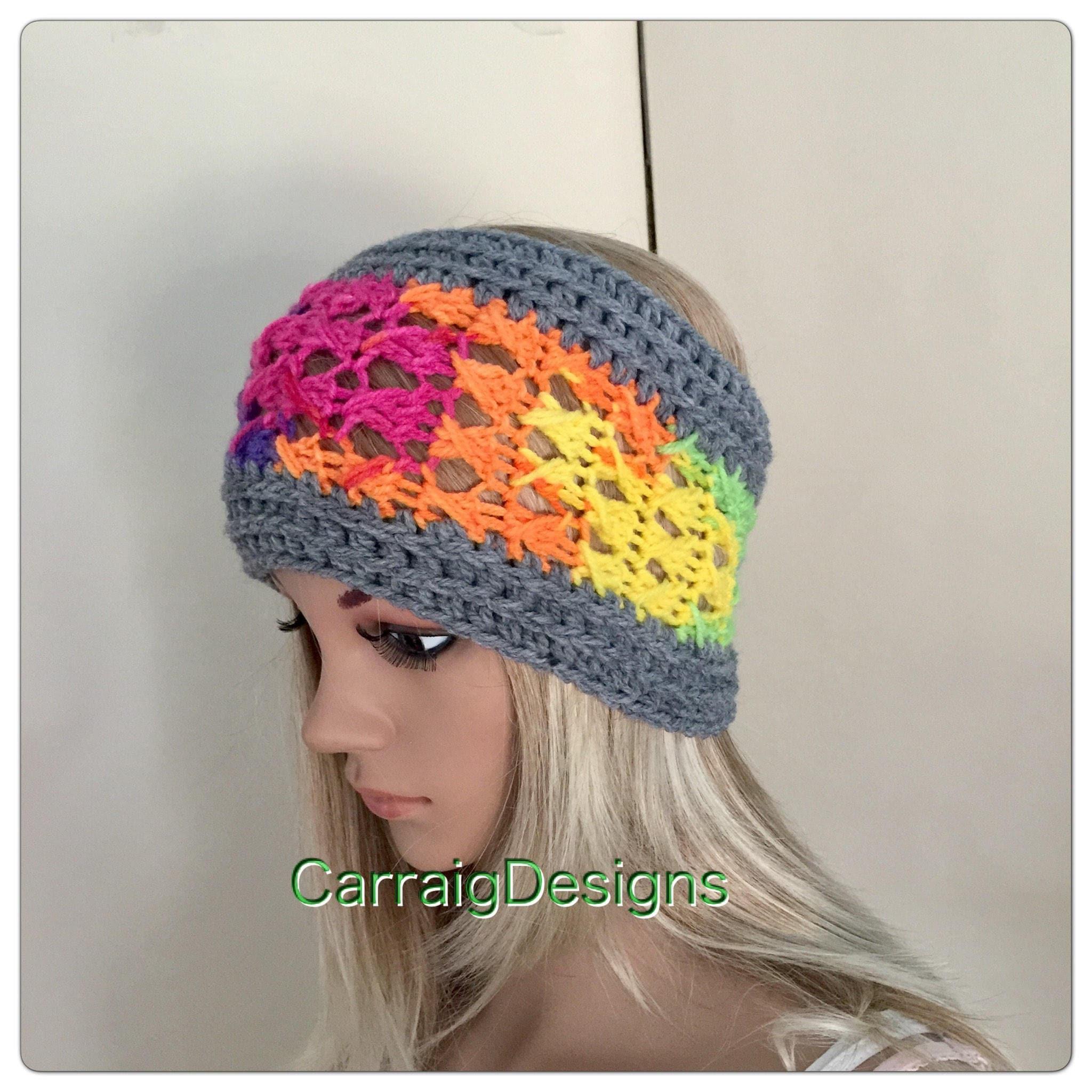Rainbow headband womens teens hand crocheted knit dread tube wrap hippy  hippie ooak boho ear warmer dreadlock accessory ski unique designer 32abbd09d843