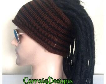 BUY1GET1HALFPRICE,Designer dreadlock headband,mans/mens/unisex guy,hand crochet knit dread tube wrap,brown boyfriend gift sock xmas sale gif