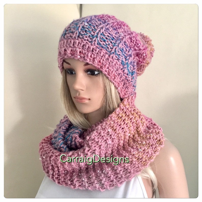 ae4892eb3 Pink Scarf and hat set Slouch Beanie crochet Womens teens hand knit hat  multi rainbow gift winter hippy cowl chunky irish unique pompom