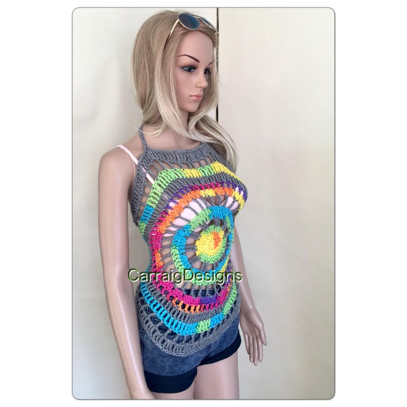 28bd8ebc66 Womens hippy halter mandala top teens designer hand knit | Etsy