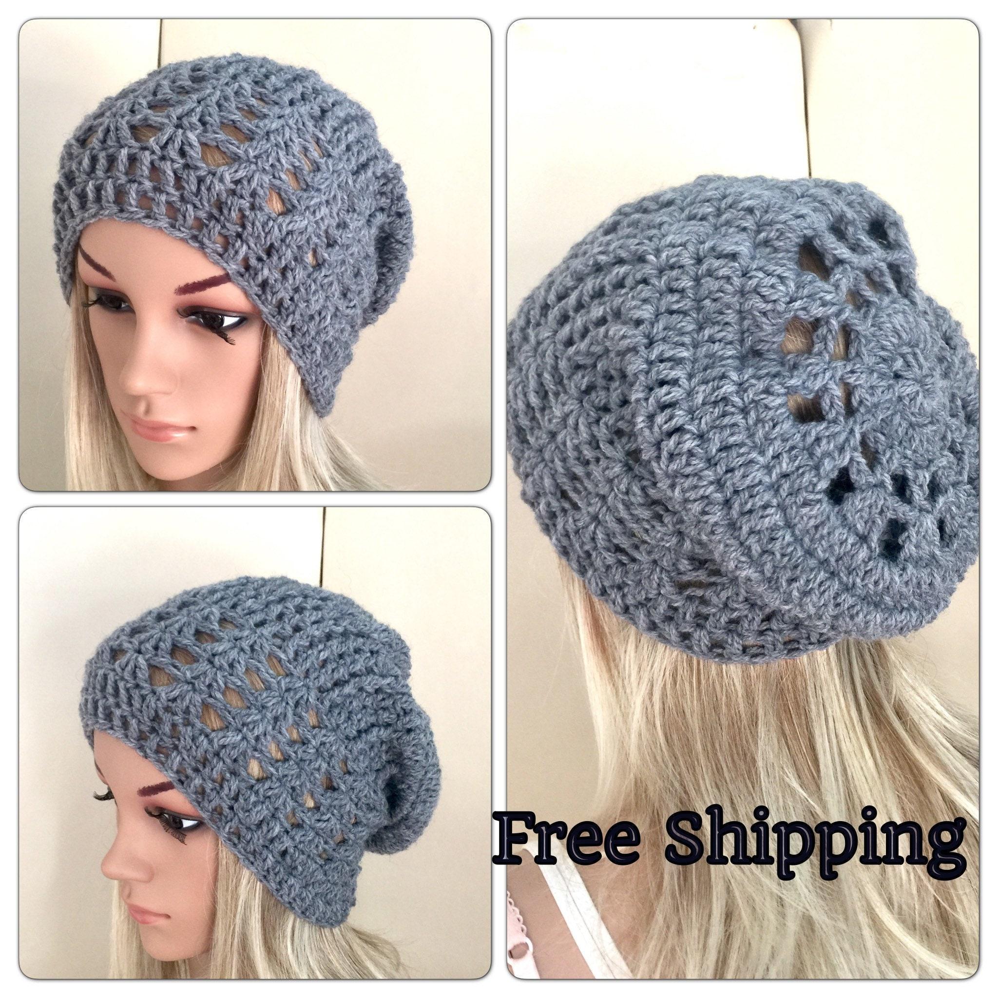 5b339b1aaa5 Grey slouch hat lace Womens hand crochet knit oversized slouchy beanie  snood hat rainbow hippie boho tam teens unique designer mandala