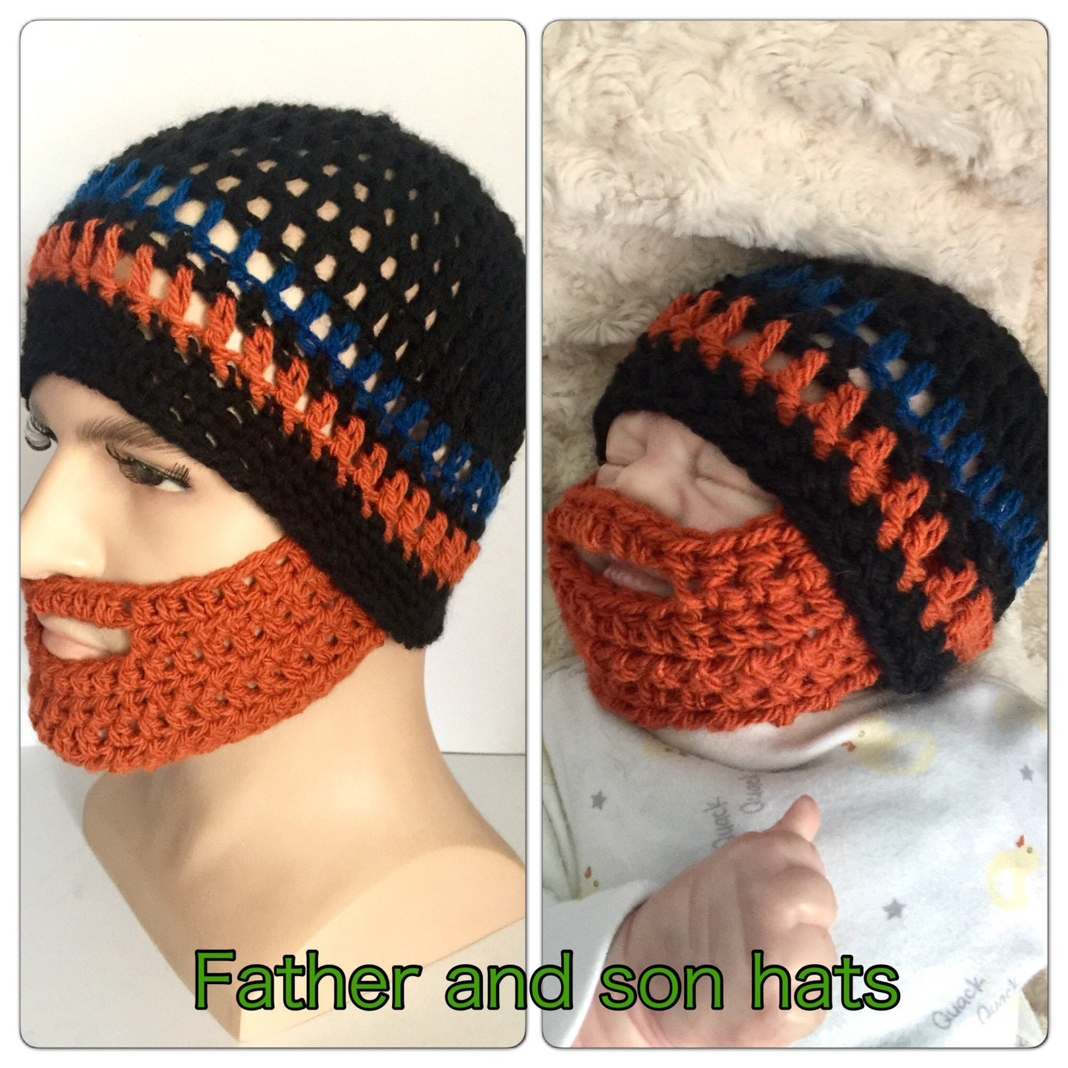 c27b3c4cb35 Father and son matching beard hats Baby boy orange ginger crocheted knitted  hippie beanie designer kids newborn gift bearded lumberjack dadd