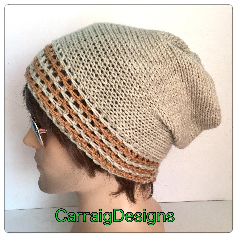 8b93587ae31 Designer mans mens unisex hand crocheted knitted oversized slouch beanie  dread tam hat oatmeal beige stripe gaming aran street style sale