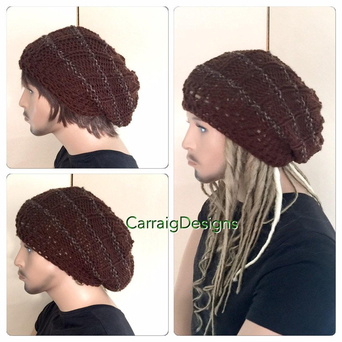 9bddc001c21 Unisex slouch Dread beanie Oversized hat mans mens unique guy hand crochet  knit gift tam accessories hippy handmade dreadlocks irish brown