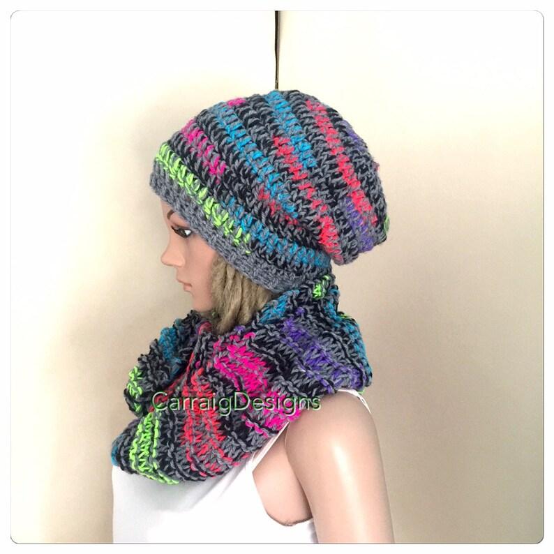 32c481cf3 Grey Scarf and hat set Slouch Beanie crochet Womens teens hand knit hat  grey multi rainbow gift winter hippy cowl neck set chunky irish uniq