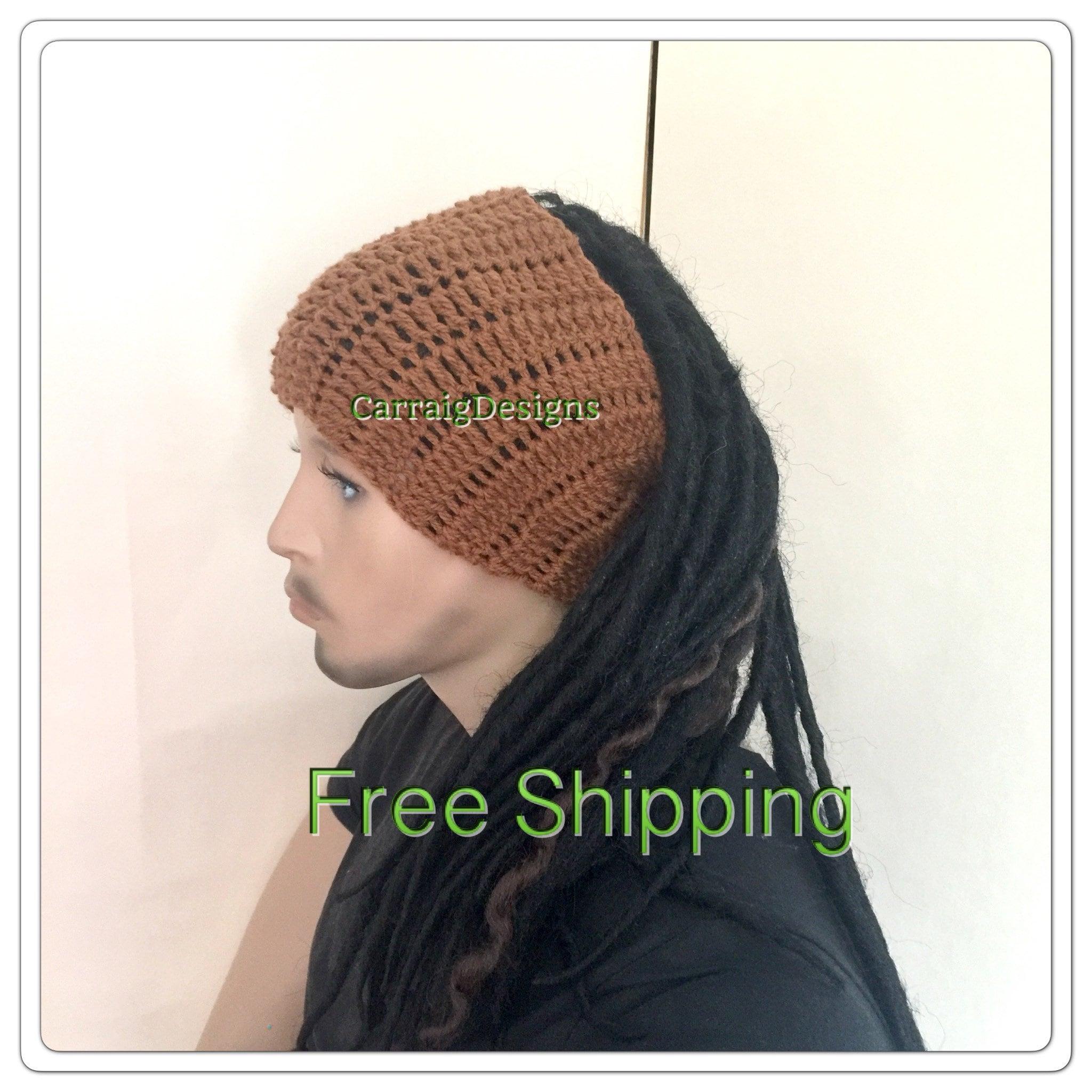 Dread Band Brown Dreadlock Headband Mans Mens Unisex Hand Crocheted