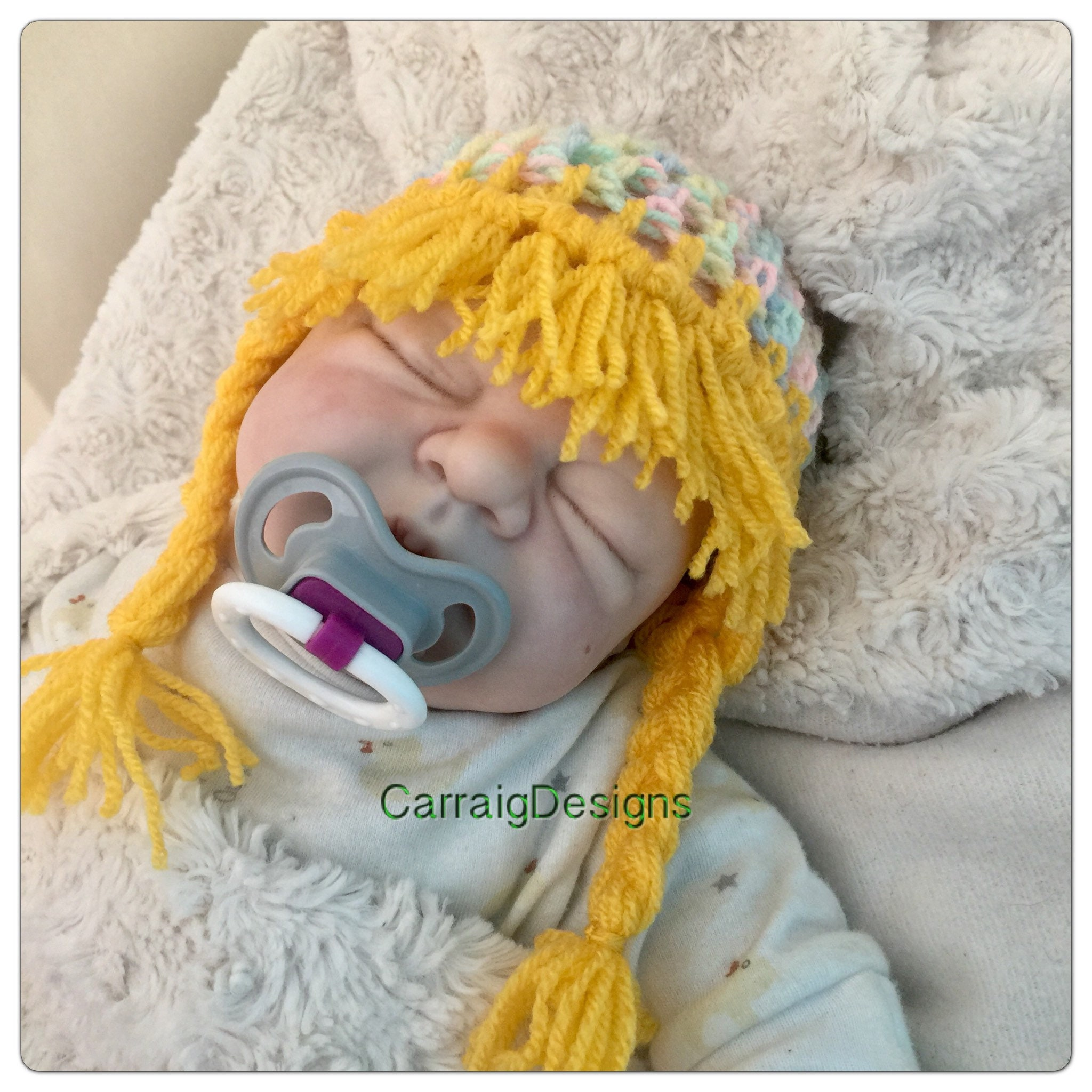 a4ac352183a Baby hat blonde wig pigtails platts crocheted knit hippy fringe unique kids  newborn hats shower gifts halloween toddler cabbage patch beanie